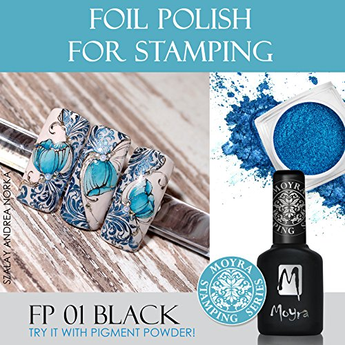 MOYRA FOIL POLISH FOR STAMPINGUNIQUE POLISH TO STAMP WITH METAL FOIL (BLACK) 10ML