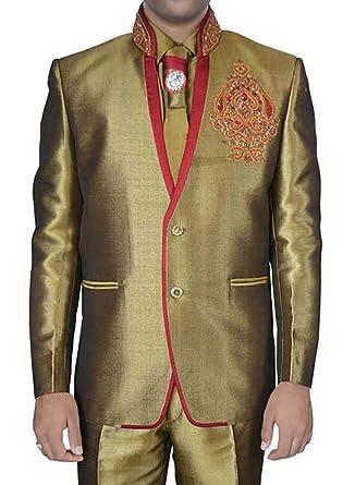 INMONARCH Diseñador de yute Lino dorado 5 pc traje Jodhpuri ...