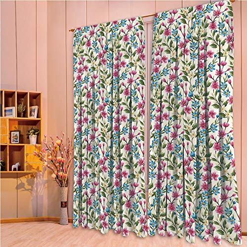 (ZHICASSIESOPHIER Bedroom/Living Room/Kids/Youth Room Curtain Panels, 2 Panel,Buds Leaves Ivy Like Garden Decor Design Art 84Wx84L Inch)