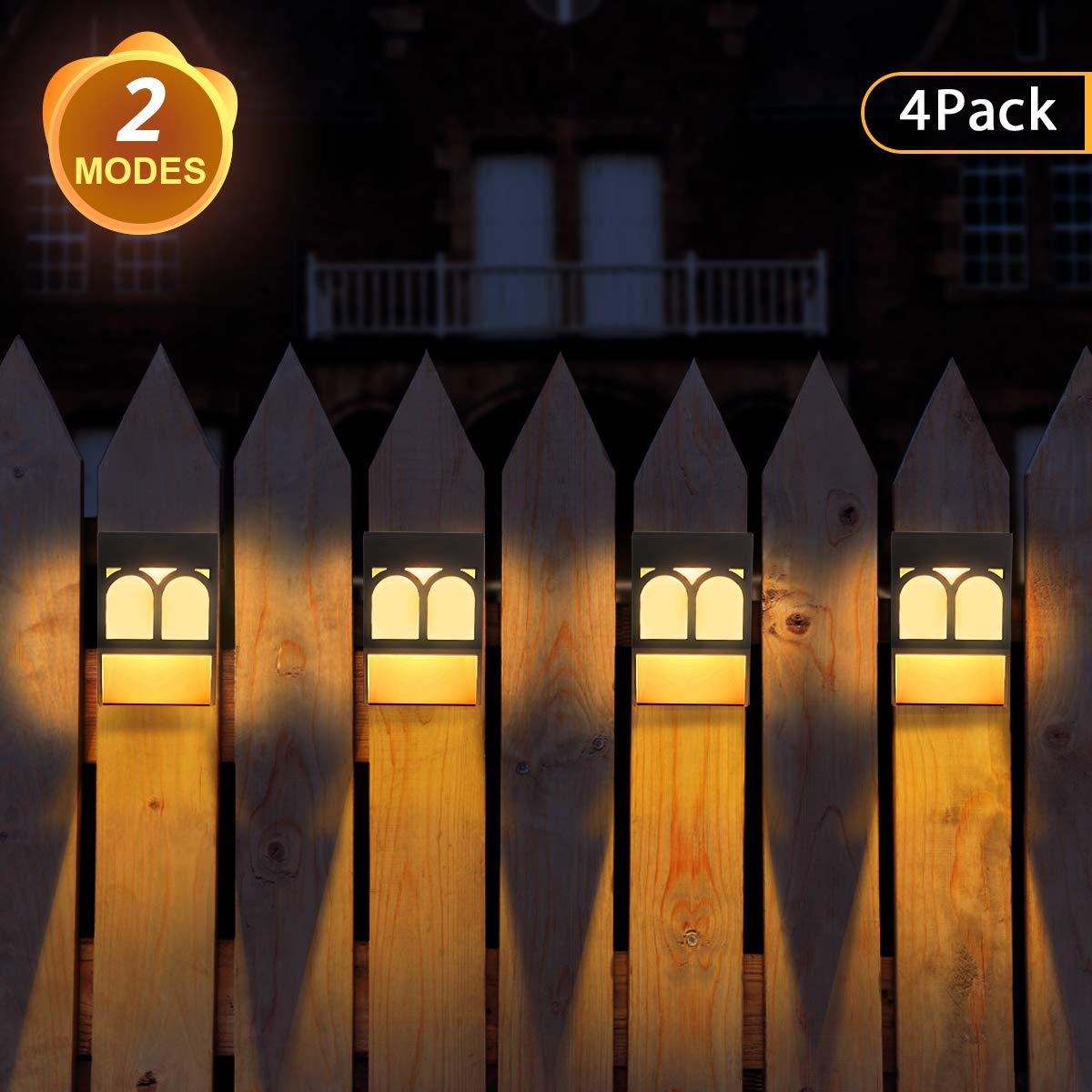 Front Door 4 Pack Stair Fence 2 Modes Solar Deck Lights for Garden Decorative Solar Lights Outdoor Patio