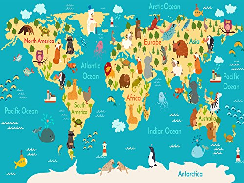 Kids World Map Poster with Animals - Large Kids Educational Animal/Famous Building World Map