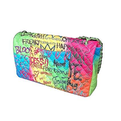 153edb98d428 Kommschonff Womens Handbags Purse Color Graffiti Quilted Shoulder Bag  Personality Fashion Package Shoulder Messenger Oversize Bag
