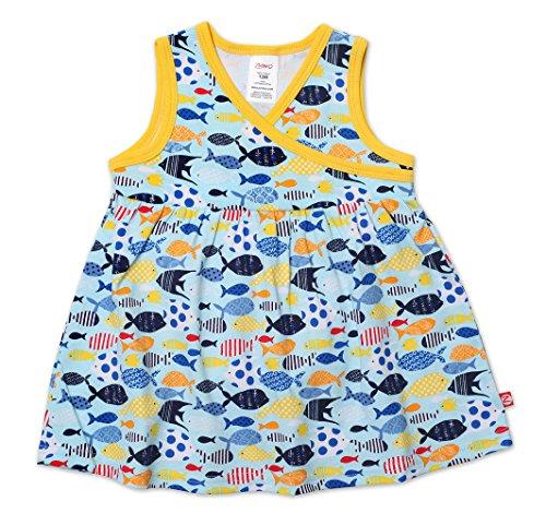 24 Months Bluebird Zutano Baby Girls Sunfish Surplice Dress