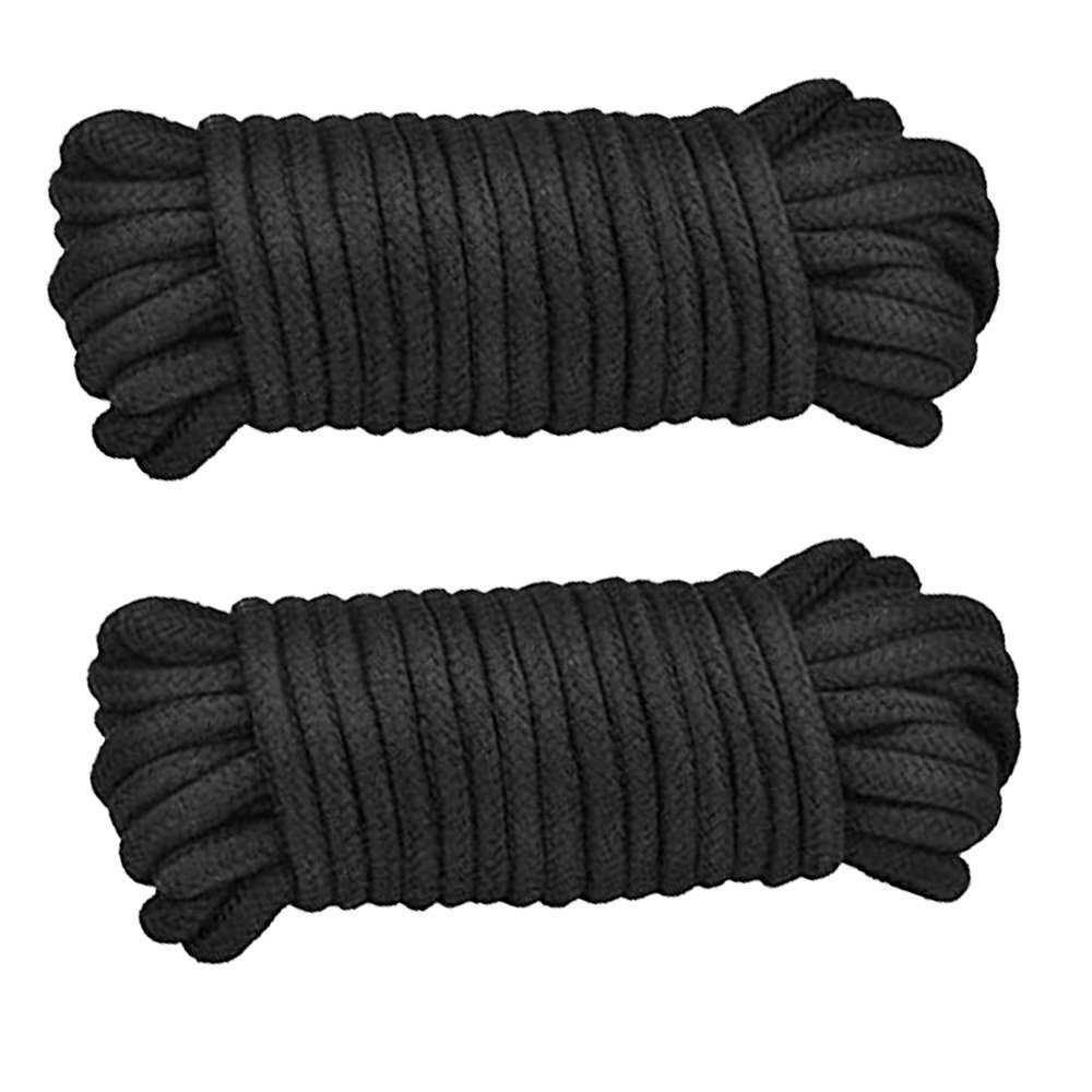 Soft Twisted-Cotton Braided Knot Tying Rope- Black White Rope 2-Pack 32 Feet 10M AbsoluteRestraint