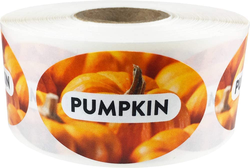 Pumpkin Grocery Store Food Labels 1.25 x 2 Inch Oval Shape 500 Total Adhesive Stickers