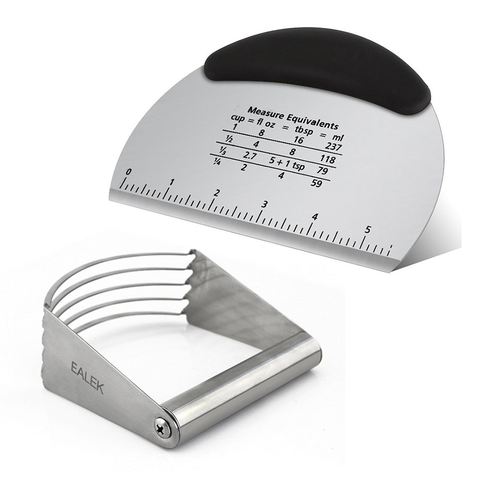EALEK Stainless Steel Dough Blender and Pastry Scraper Set,Multipurpose Baking Pizza Tools 5 Blades Dough Blender Mixer and Pastry Scraper Cutter Chopper with Measurement Scale