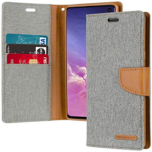 GOOSPERY Canvas Wallet for Samsung Galaxy S10 Case (2019) Denim Stand Flip Cover (Gray) S10-CAN-GRY (Best Rugged Flip Phone 2019)
