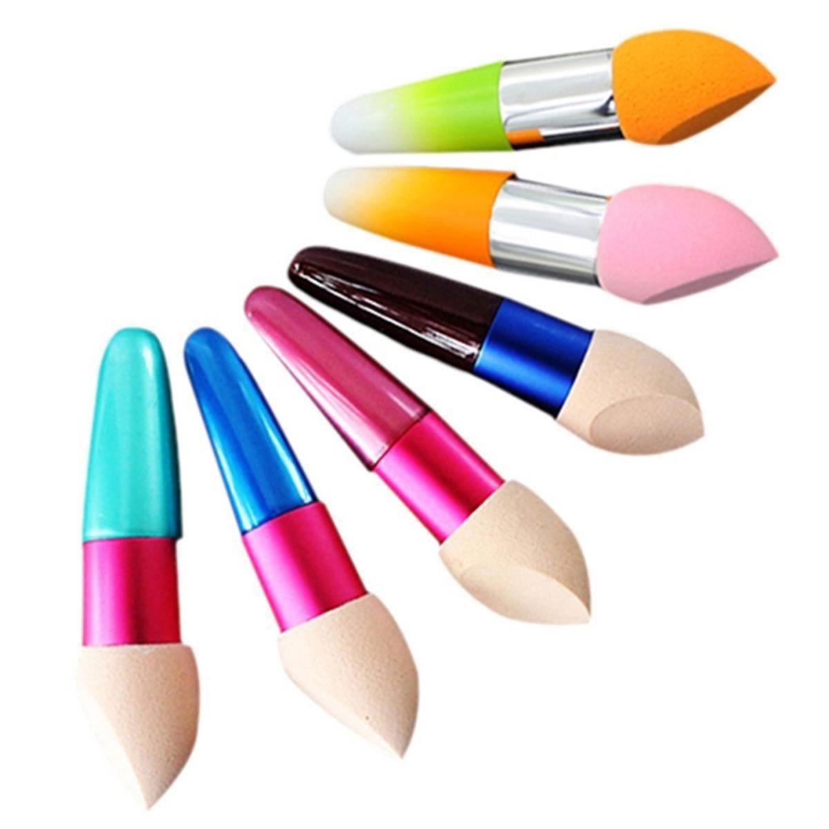 LONGQI 2Pcs/Set Powder Puff Pen Liquid Cream Foundation Concealer Bevelled Shape Sponge Brush