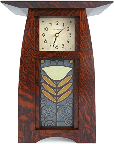 American Made Arts and Crafts Style Mantel Shelf Clock with Poppy Tile, Dark Oak Finish, 14.5
