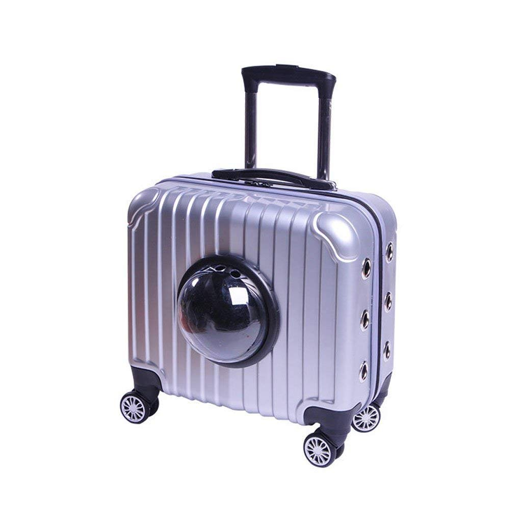 V.JUST Pet Out Trolley Travel Portable Case Cat Bag Dog Bag Space Bag Cat Cage Teddy Trolley Case,Silver