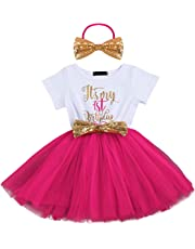 Baby Girl Newborn Princess It's My 1st/2nd Birthday Party Cake Smash Outfit Shinny Printed Sequin Bow Tulle Tutu Dress Fancy Costume Headband Clothes