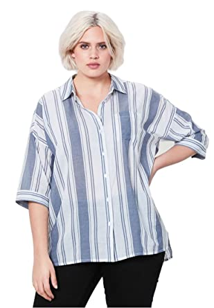 7313fab32 Woman Within Plus Size Oversized Button-Front Shirt - Dusty Navy/White, 10