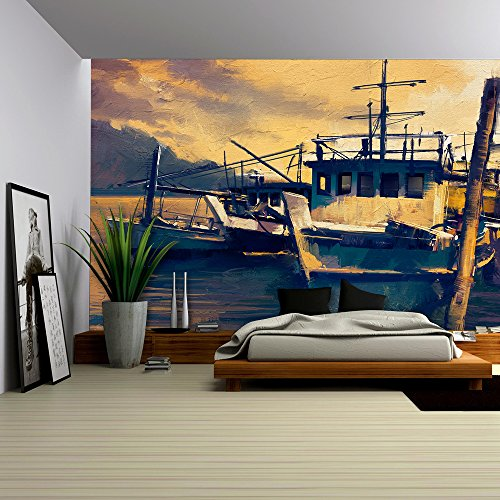 - wall26 - fishing boats in harbor,old painting style - Removable Wall Mural | Self-adhesive Large Wallpaper - 100x144 inches