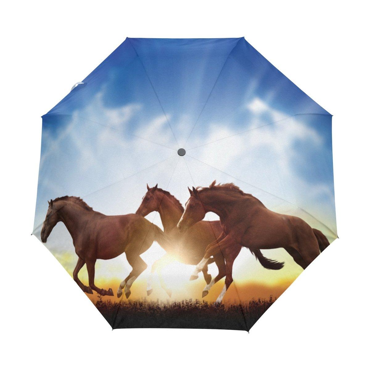 Naanle Running Horses Sunset Blue Sky Auto Open Close Foldable Windproof Umbrella B075ST22BM