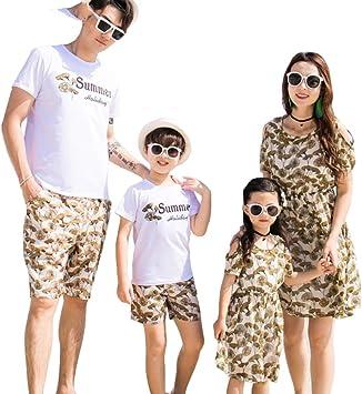 DAHDXD Vestido de Playa Ajustado para la Familia Verano Vestido de Manga Corta de algodón Camiseta de Manga Vestidos de Madre e Hija Juego Familiar: Amazon.es ...