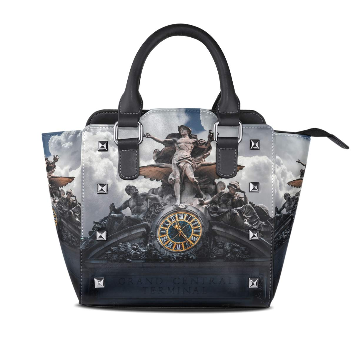 Design 3 Handbag Brown Brick Wall With Woman Painting Genuine Leather Tote Rivet Bag Shoulder Strap Top Handle Women