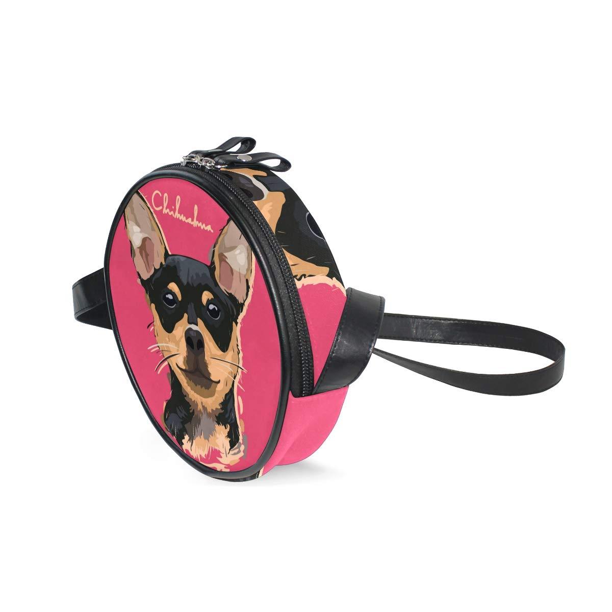 KEAKIA Dachshund Painting Round Crossbody Bag Shoulder Sling Bag Handbag Purse Satchel Shoulder Bag for Kids Women