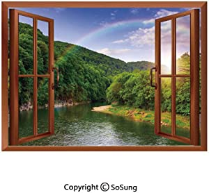 Nature Removable Wall Sticker/Wall Mural,Summer Scene by Mountain Valley with Rainbow over the Lake Sunny Day Image Creative Open Window design Wall Decor,24