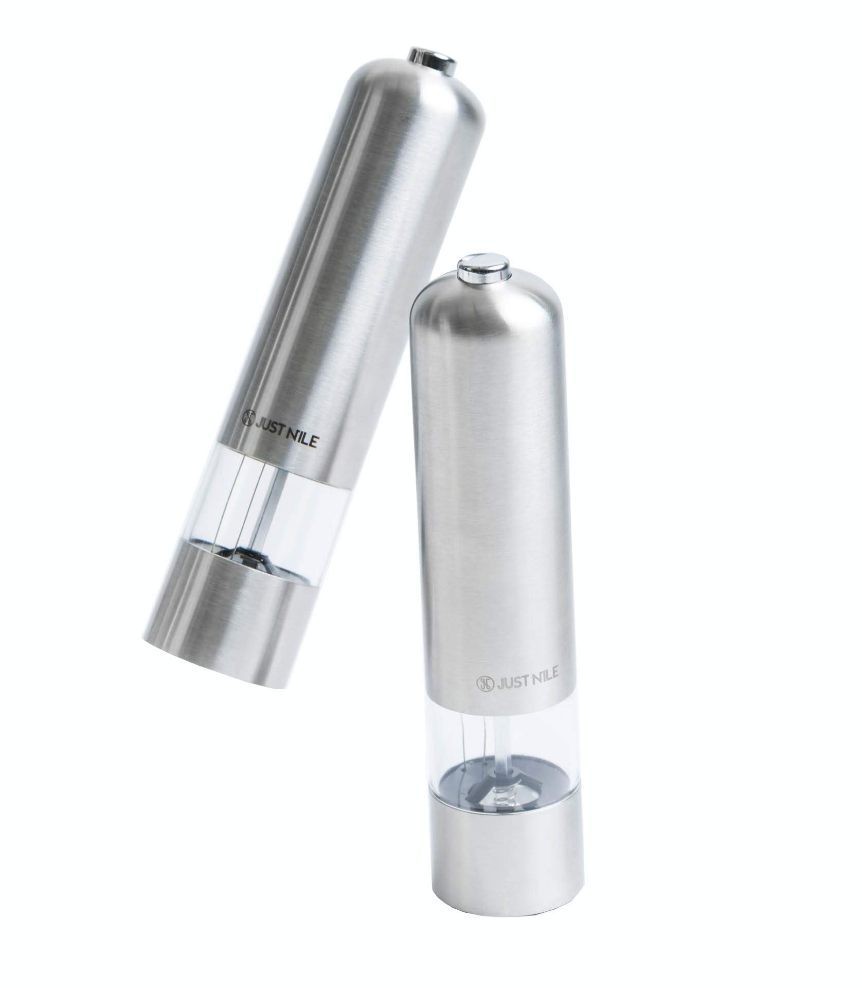 JustNile Electric Salt and Pepper Grinder Set - Single Touch Battery Operated, LED Light and Easy Adjustable Coarseness | Pack of 2 | each Measured 1.97'' x 8.66'' | Holds Up To 5 Ounce of the Spice