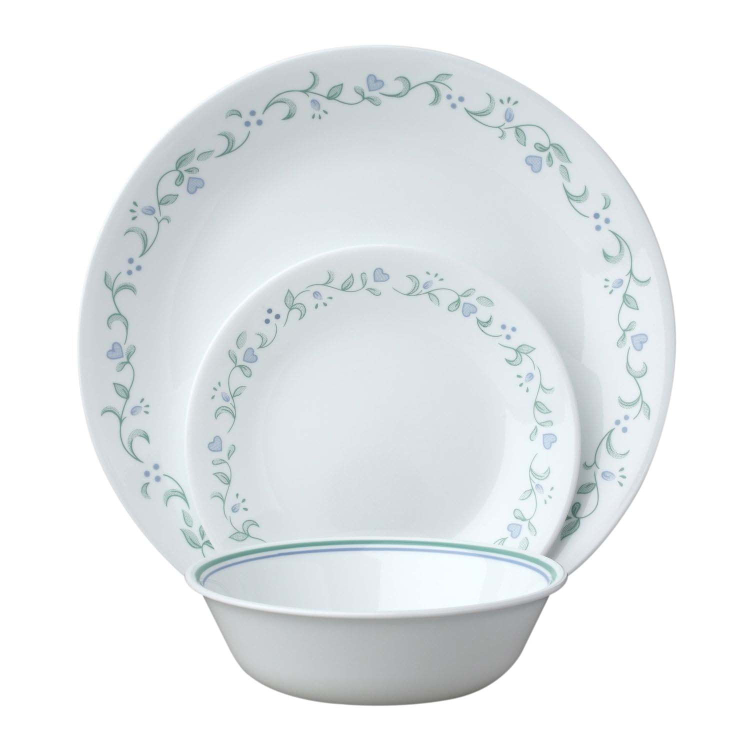 Corelle 18-Piece Vitrelle Glass Country Cottage Chip and Break Resistant Dinner Set Service for 6 Green/ Blue Amazon.co.uk Kitchen \u0026 Home  sc 1 st  Amazon UK & Corelle 18-Piece Vitrelle Glass Country Cottage Chip and Break ...