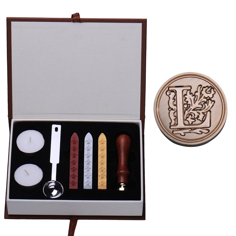 cucchiai per sciogliere la cera e candele A Set di ceralacca con sigillo color ottone con lettera dell/'alfabeto vintage//retr/ò