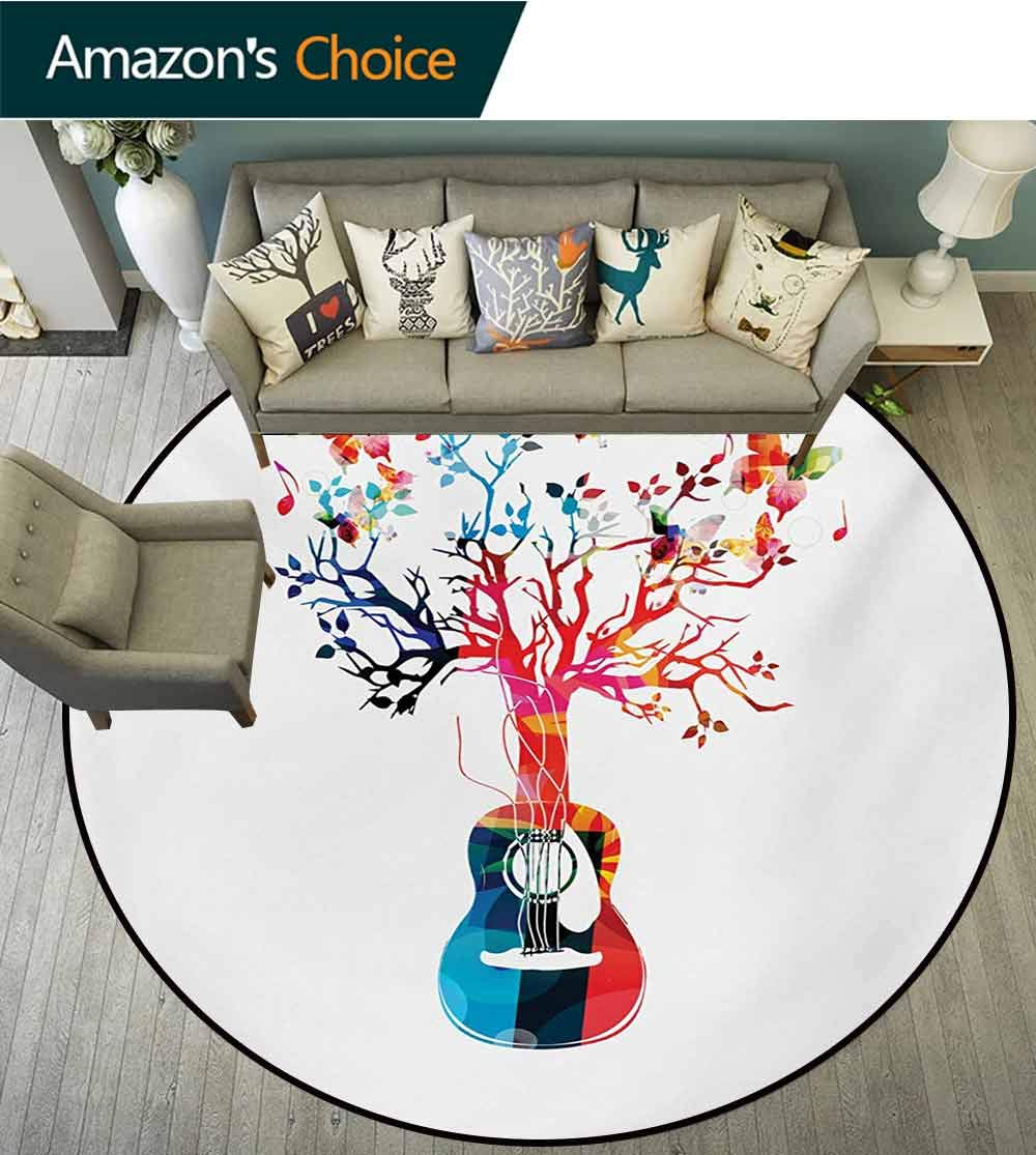 RUGSMAT Guitar Rug Round Home Decor Area Rugs,Colorful Musical Composition with Guitar Tree and Butterflies Artistic Inspiration Non-Skid Bath Mat Living Room/Bedroom Carpet,Diameter-59 Inch