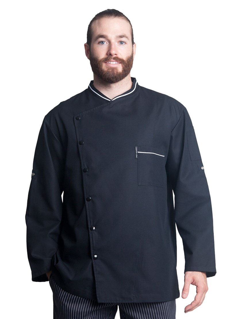 Bragard Men's Long Sleeve Chicago Chef Jacket with Honeycomb Weave and Piping - Black | Sizes 54 US|