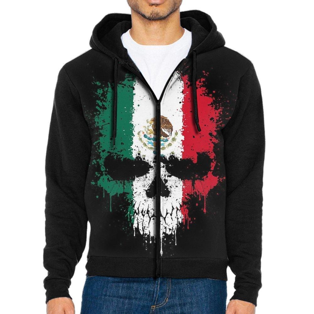 HGJSHFAA Mens Full-Zip Hooded Mexico Fleece Sweatshirt