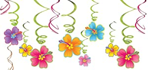 amscan 679293 Luau Party Hanging Swirl Decorating Kit 24