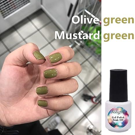Joligel Esmalte Permanente para Uñas, Color Popular de Instagram, Verde de Oliva / Mostaza