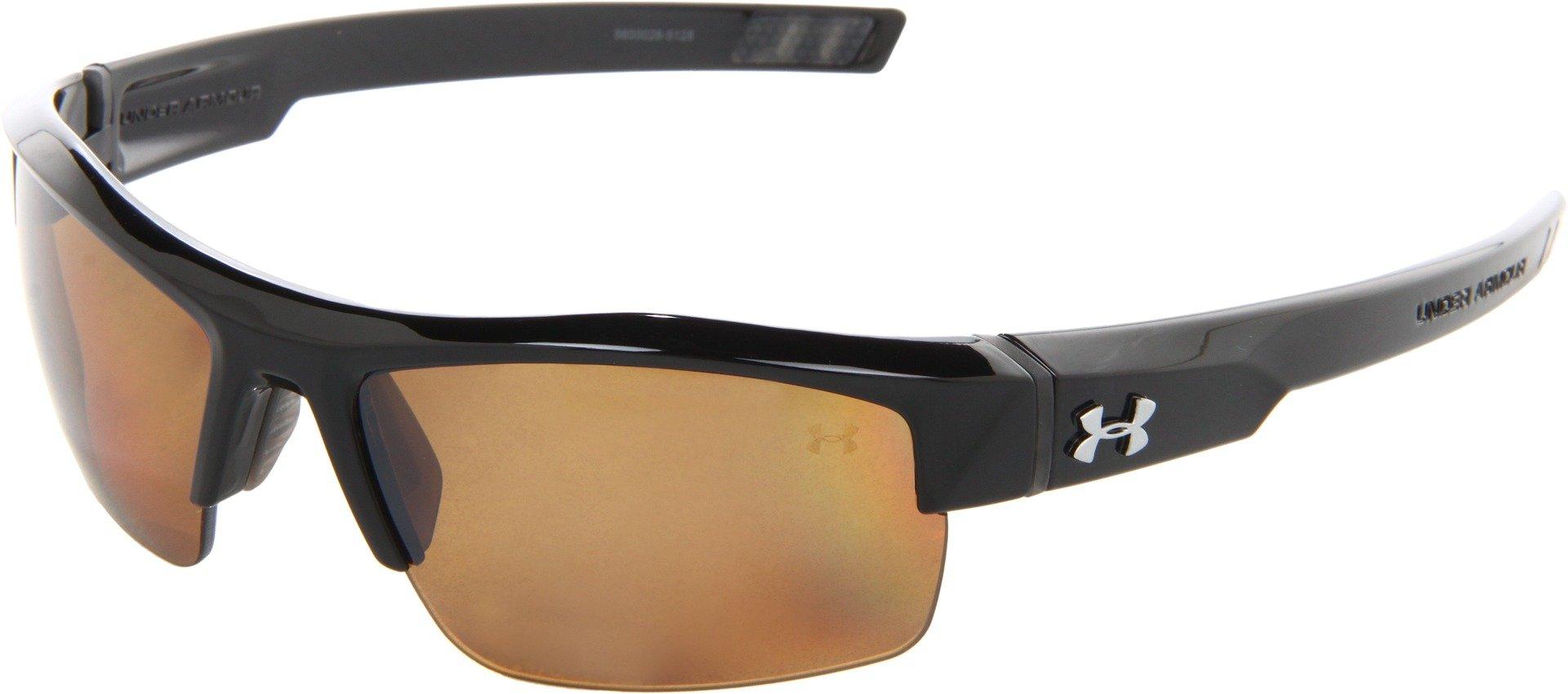 Under Armour Igniter Polarized Multiflection Sunglasses, Shiny Black Frame/Brown Lens, one size