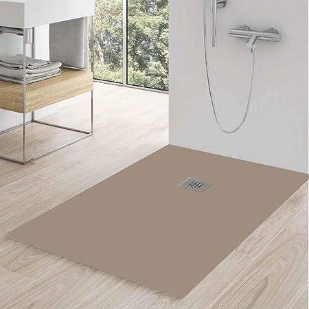 Zenon - Plato de ducha rectangular modelo Slate 80 x 100 en gel coat efecto piedra cream: Amazon.es: Bricolaje y herramientas