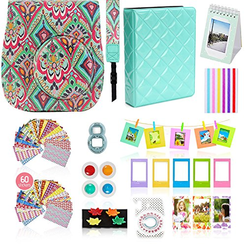 Fujifilm Instax Mini 9 Camera Accessories Bundle, 14 PC Mint Design Kit Includes: Instax Case with Strap, 2 Albums, Color Filters, Selfie Lens, Magnets + Hanging + Creative Frames, Stickers, Gift Set
