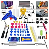 Super PDR DIY 68pcs LED Line Board Car Body Paintless Dent Removal Repair Tool Kits Slide Hammer Dent Kits PDR Tools T Bar Rubber Hammer Glue Puller Gun Sticks Tabs Tap Down Head