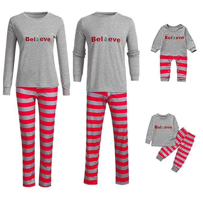 feiXIANG Famiglia Pigiami Natale Pigiama Bambina Donna Ragazza Set 2 Pezzi  Uomo Costume A Strisce Bambino Camicie da Notte Invernali Cappello  Pantaloni ... adfb3780a5d
