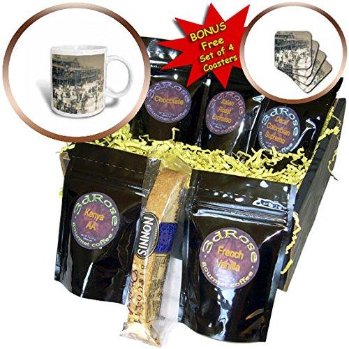 3dRose Scenes from the Past Magic Lantern Slides - Vintage Atlantic City New Jersey Boardwalk Ferris Wheel and Beach - Coffee Gift Baskets - Coffee Gift Basket (cgb_269836_1)