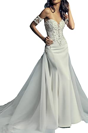 HIDRESS Womens Wedding Dresses by Simple and Elegant Sweetheart Classic Formal Dresses with Tulle and Satin BQ043 at Amazon Womens Clothing store: