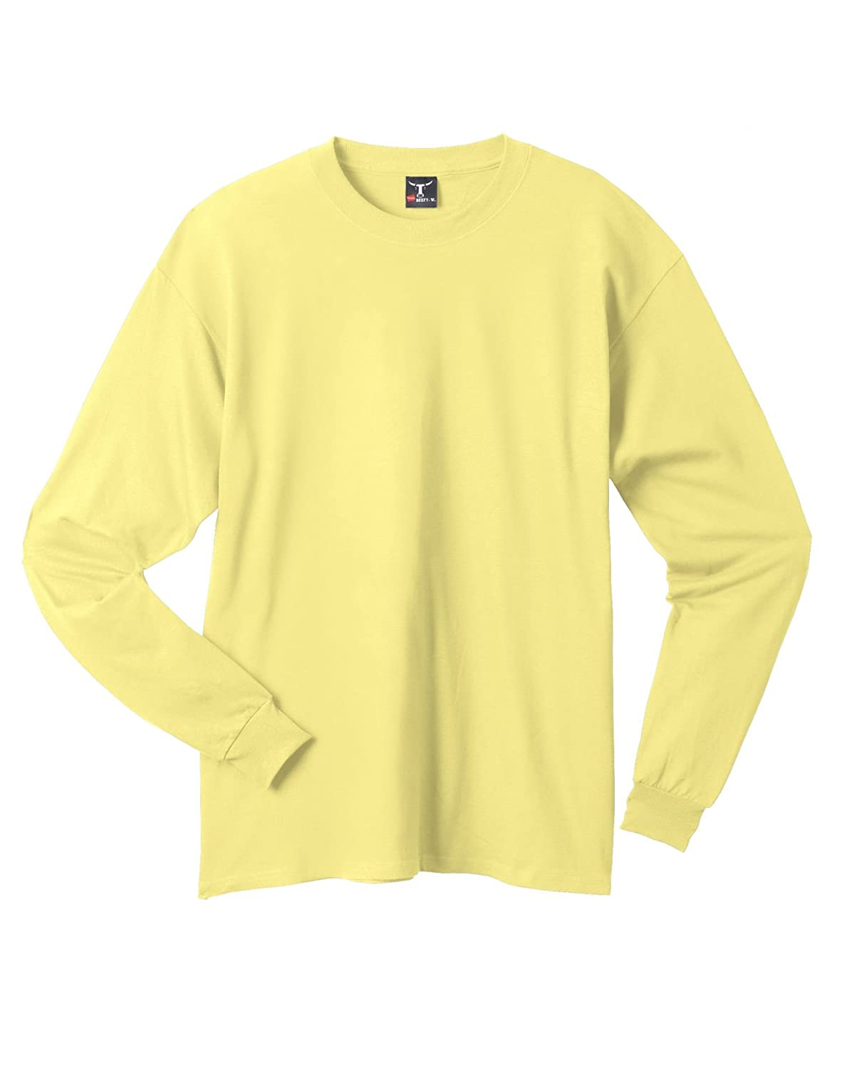 Hanes Men`s Adult Beefy-T Long-Sleeve T-Shirt,X-Large,Yellow