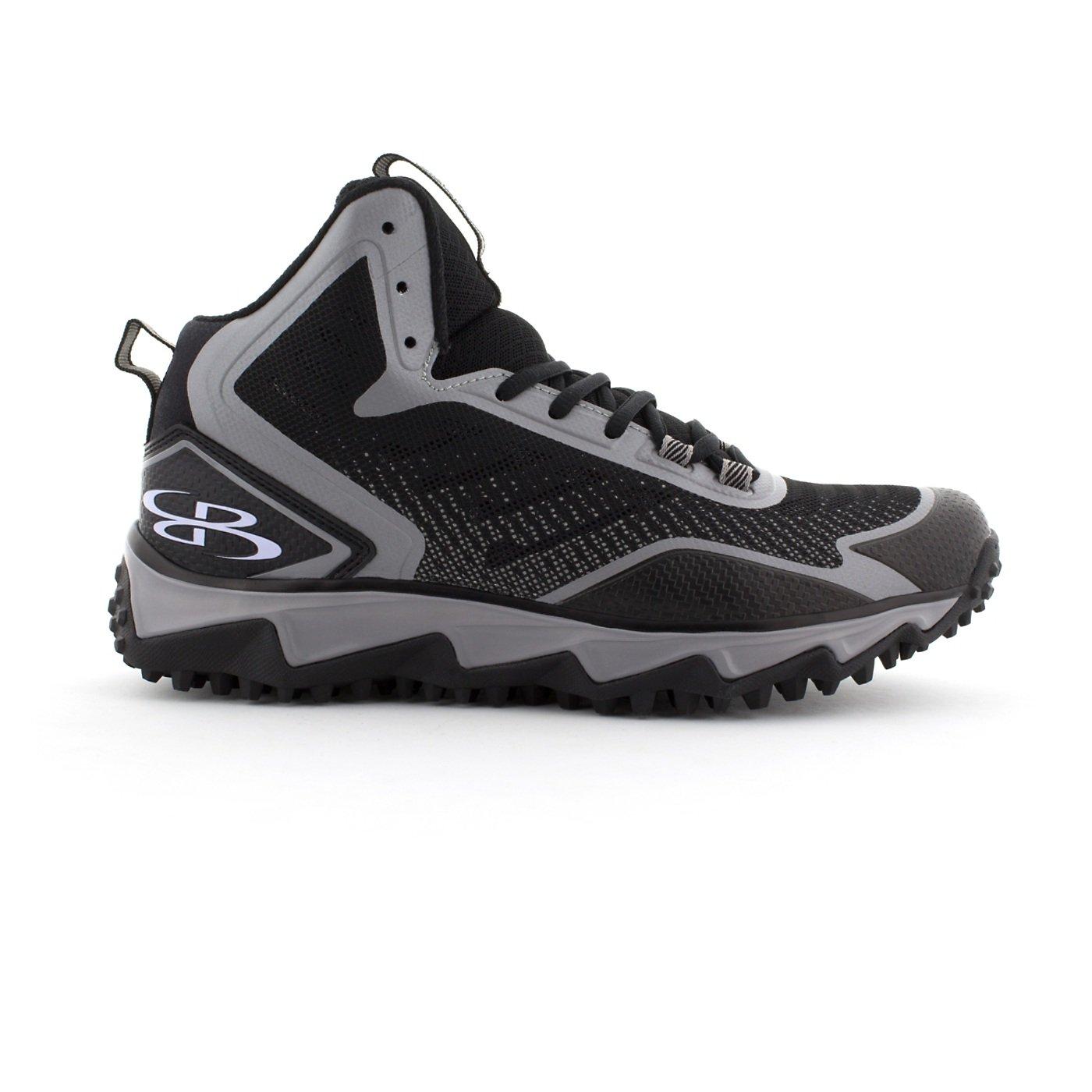 BoombahメンズBerzerk Mid Turf Shoes – 8カラーオプション – 複数のサイズ B0769WYXRF 10|ブラック/グレー ブラック/グレー 10