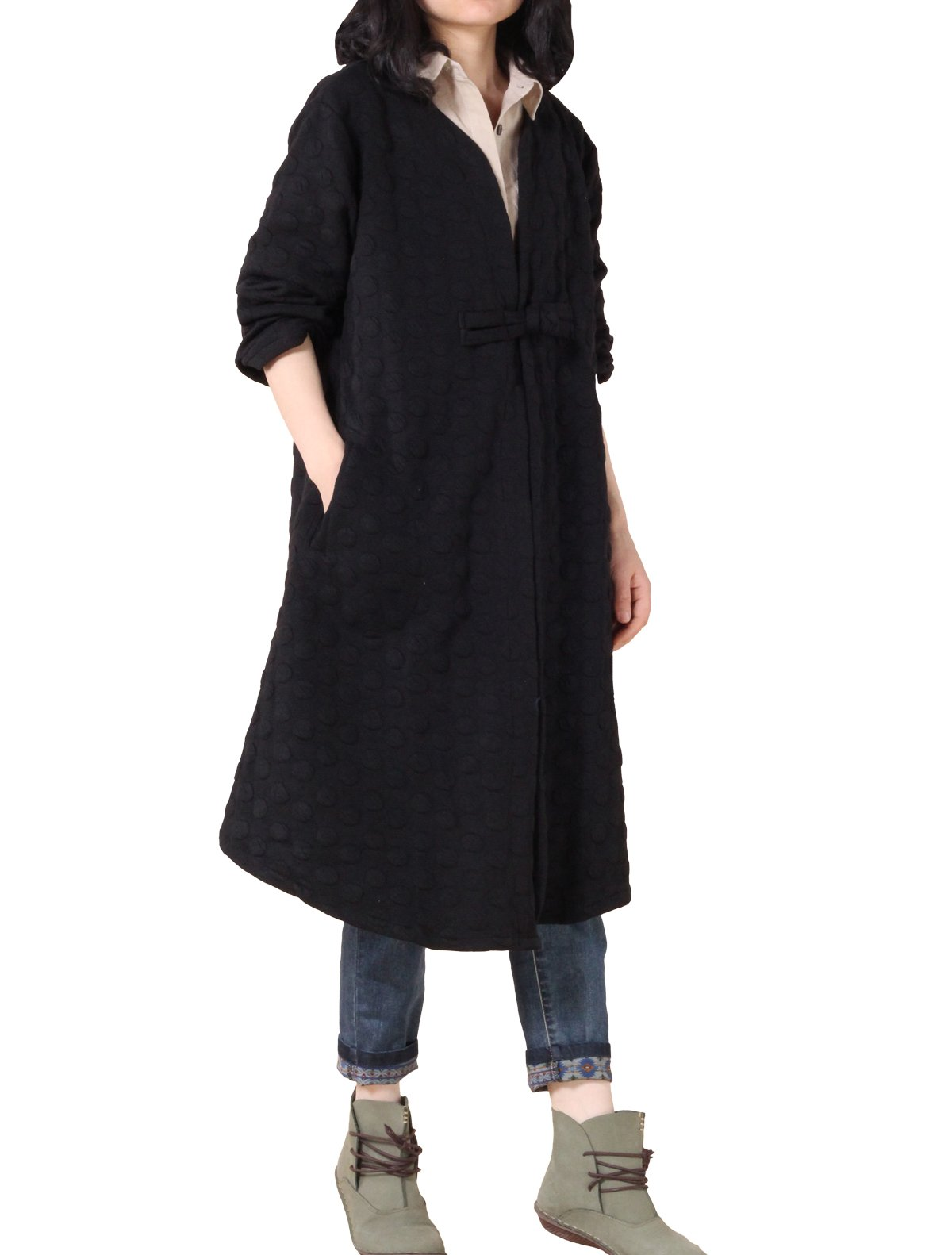 Mordenmiss Women's Long Sleeves One Chinese Frog Button Trench Coat with Pockets(M, Style 1-Black)
