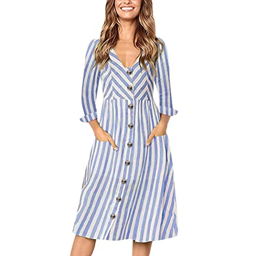 0f61dbdbf5f1 Image Unavailable. Image not available for. Color  Dacawin Fashion Women  Casual Solid Maxi Dress Striped Print Long Sleeve Button ...