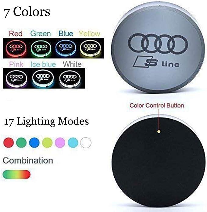 ICESAR 2 Pack de Luces LED para portavasos de Coche Peuge0t l/ámpara LED para Ambiente Interior 7 Colores cambiantes de Carga USB Almohadilla luminiscente para Taza