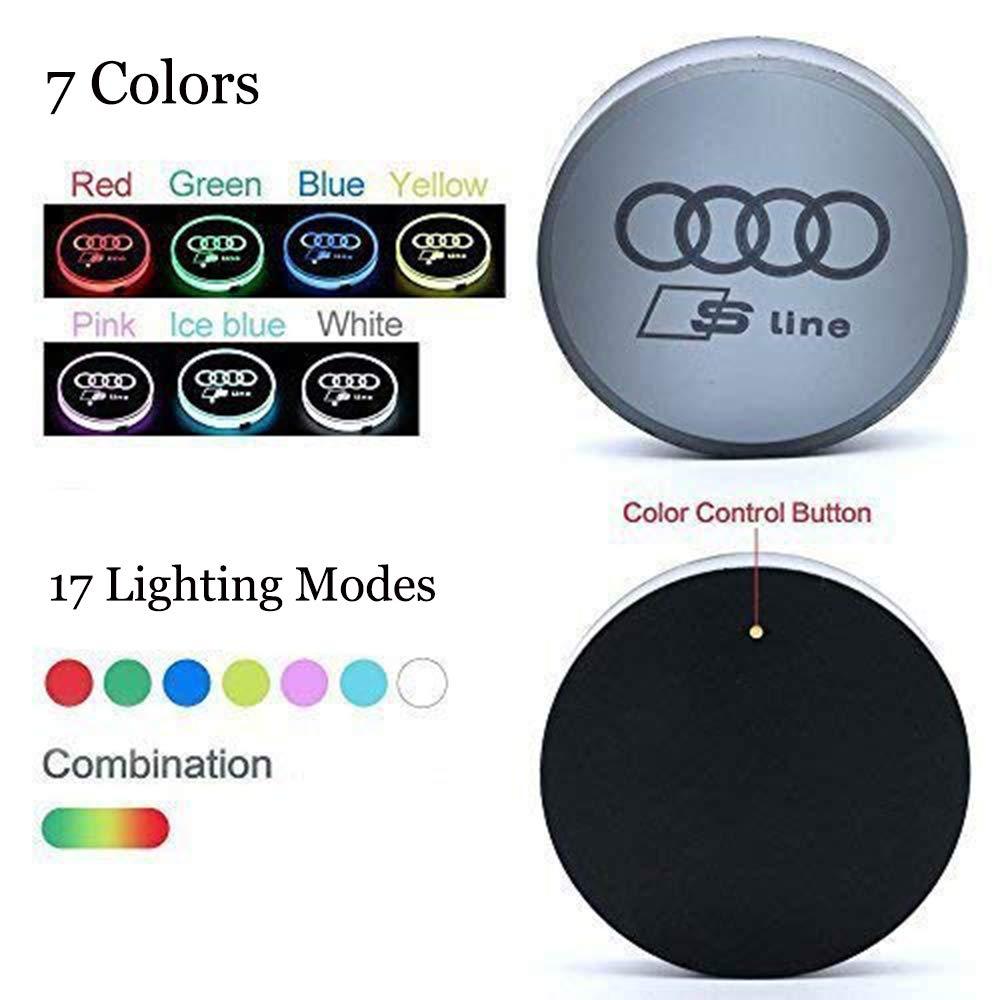 Almohadilla luminiscente para Taza ICESAR 2 Pack de Luces LED para portavasos de Coche Peuge0t 7 Colores cambiantes de Carga USB l/ámpara LED para Ambiente Interior