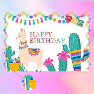 Llama Birthday Party Supplies Decorations, Llama Cactus Theme Boy Girl Backdrop With String Light Strap Kit for Kids Photo Background Baby Shower Banner