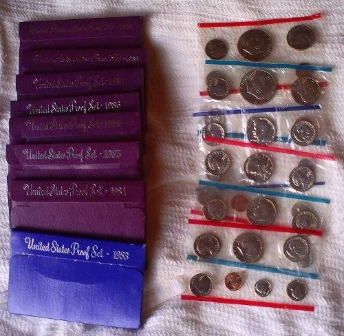 US PROOF & UNCIRCULATED COIN SET - HUGE LOT OF 14 - 1978 1980 1981 1982 1983 1984 1985 1986 1987 1988 1989