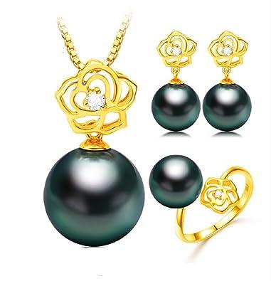 436da522ce243 Buy GOWE 18K Gold Rose Design Wedding Jewelry Set Tahitian/South sea ...
