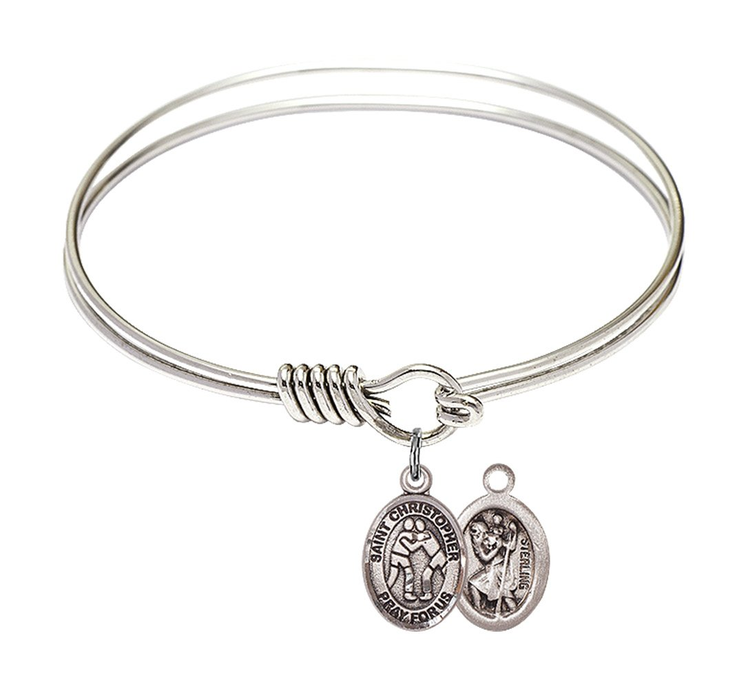 6 1/4 inch Round Eye Hook Bangle Bracelet with a St. Christopher/Wrestling charm.
