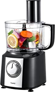 Multifunctional Food Processor, Tieasy 10 Cup Kitchen Food Chopper, 5 Processing Attachments for Chopping Shredding Slicing Kneading and Emulsifying, 600W Powerful Motor, 2 Speeds Plus Pulse