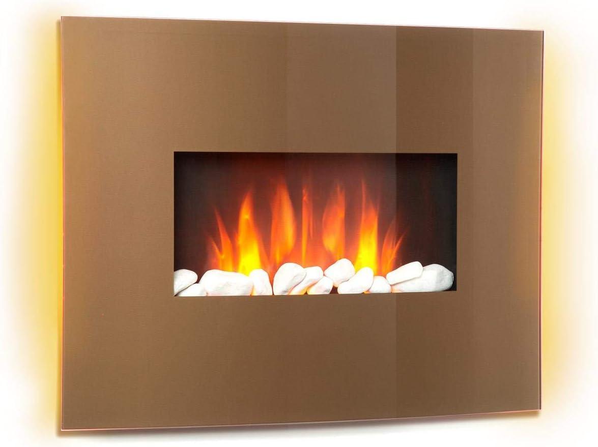 Klarstein Curved Copper L&F - Chimenea eléctrica con función calefactora, Chimenea electrónica, 1000 o 2000 W, Efecto llameante, Panel de Vidrio Curvo, Programable, Mando a Distancia, Cobre