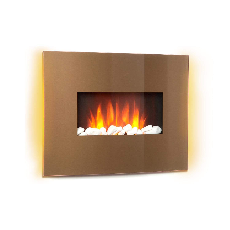 Klarstein Curved Copper L&F • Chimenea eléctrica con función calefactora • Chimenea electrónica • 1000 o 2000 W • Efecto llameante • Panel de Vidrio Curvo • Programable • Mando a Distancia • Cobr